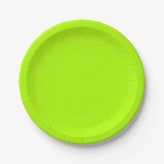 Cor sólida verde fluorescente prato de papel