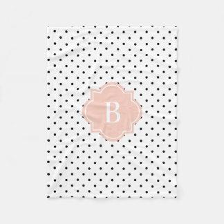 Cora a cobertura do velo do monograma dos pontos | cobertor de lã