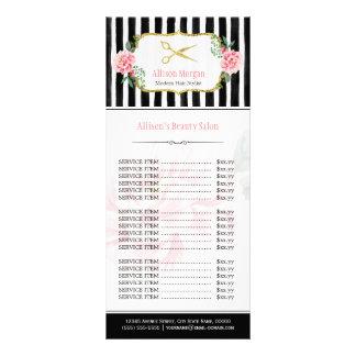 Cora a tabela de preços floral do cabeleireiro 10.16 x 22.86cm panfleto