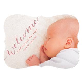 Cartão Cora o anúncio moderno da foto do nascimento do