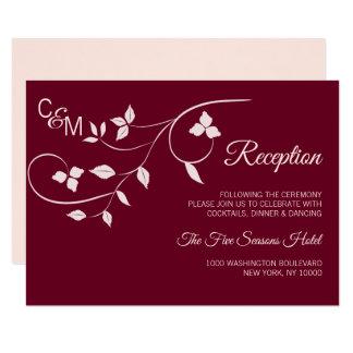Cora o cartão cor-de-rosa da inserção da recepção