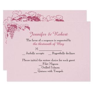 Cora o cartão da resposta do casamento da vinha convite 8.89 x 12.7cm