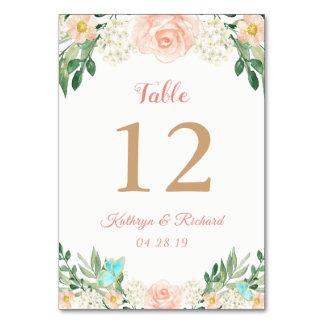 Cora o cartão do número da mesa do casamento do