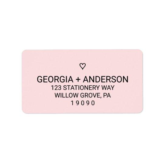 Cora o casamento simples cor-de-rosa do coração etiqueta de endereço