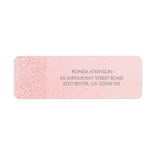 Cora o casamento vintage floral cor-de-rosa etiqueta endereço de retorno