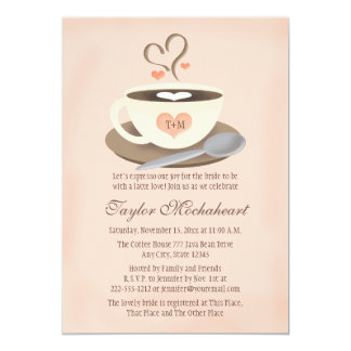 Cora o chá de panela Monogrammed do copo de café Convite 12.7 X 17.78cm