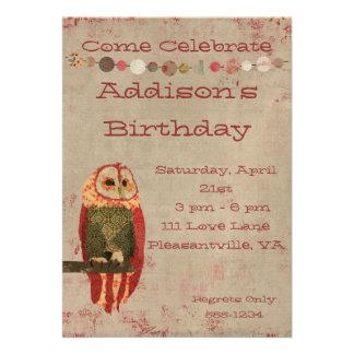 Cora o convite do aniversário da coruja