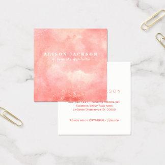 Cora o distribuidor cor-de-rosa do produto do cartão de visitas quadrado