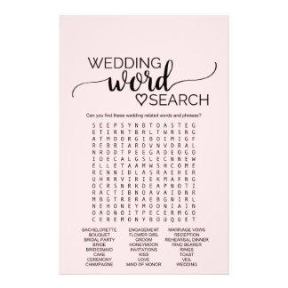 Cora o jogo de busca cor-de-rosa da palavra do flyer