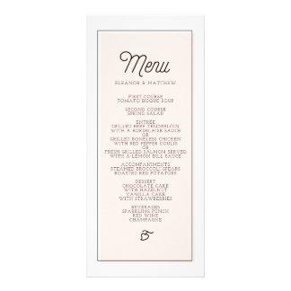 Cora o menu minimalista do casamento do bloco da