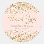 Cora o obrigado cor-de-rosa do casamento do brilho adesivo