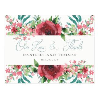 Cora o obrigado do cartão do casamento da aguarela