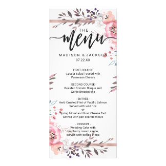 Cora & ouro cor-de-rosa o menu floral moldado do
