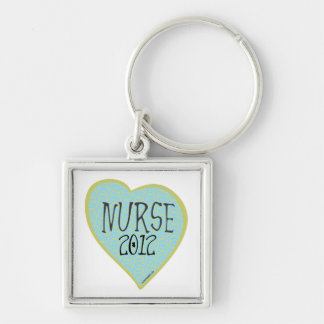 Coração 2012 da enfermeira chaveiro quadrado na cor prata