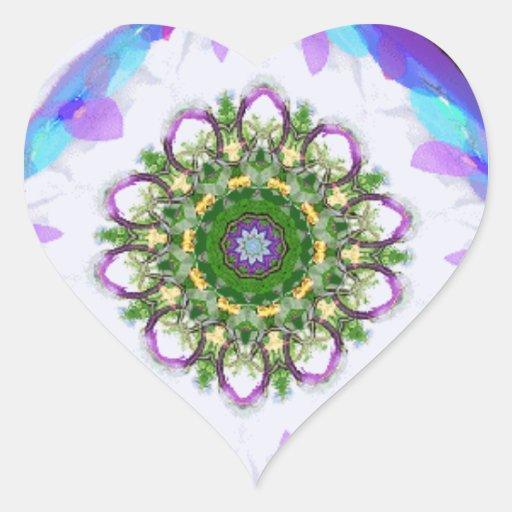 Coração 2 do caleidoscópio adesivos em forma de corações