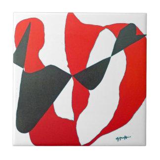 Coração abstrato preto do vermelho azulejos de cerâmica
