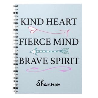 Coração amável, mente feroz, jornal bravo da alma cadernos espiral