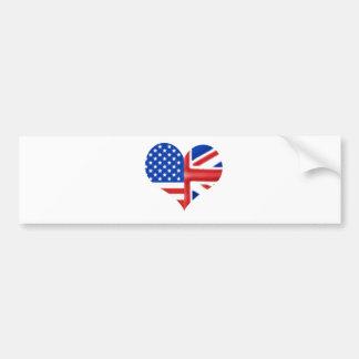 Coração americano britânico adesivo para carro