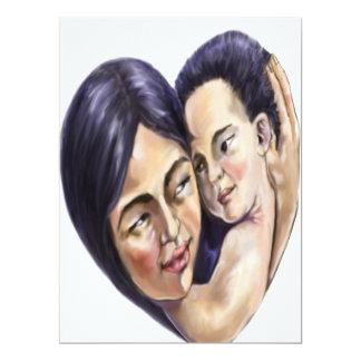 Coração asiático da mãe e da criança convite 16.51 x 22.22cm