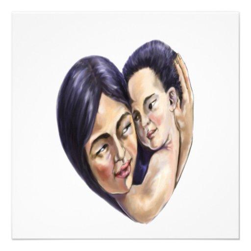 Coração asiático da mãe e da criança convites personalizado