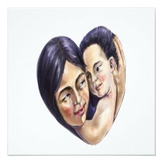 Coração asiático da mãe e da criança convite quadrado 13.35 x 13.35cm