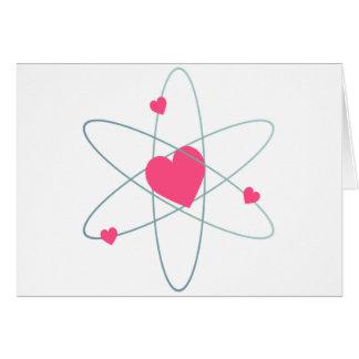 Coração atômico cartão comemorativo