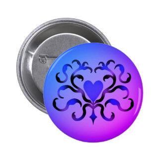 Coração azul bonito bóton redondo 5.08cm