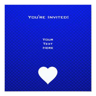 Coração azul & branco convite quadrado 13.35 x 13.35cm