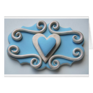 Coração azul cartão comemorativo