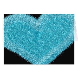 Coração azul cartão personalizado do noivado