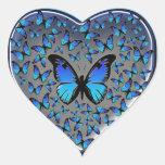 coração azul das borboletas adesivo de coração