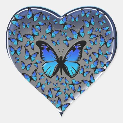 Aparador De Madeira Branco ~ coraç u00e3o azul das borboletas adesivo de coraç u00e3o Zazzle