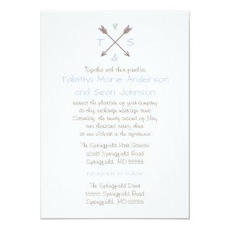 Coração azul das setas - convite do casamento & da