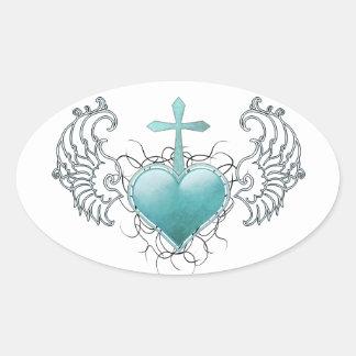 Coração azul de cristal fiel adesivo oval