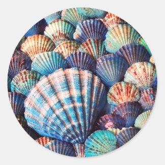 Coração azul, roxo, coral vibrante etiquetas dadas
