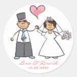 Coração bonito do amor do noivo da noiva do casal adesivo redondo
