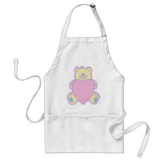 Coração bonito do amor do urso de ursinho avental
