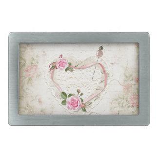 Coração bonito do vintage do laço, flores,