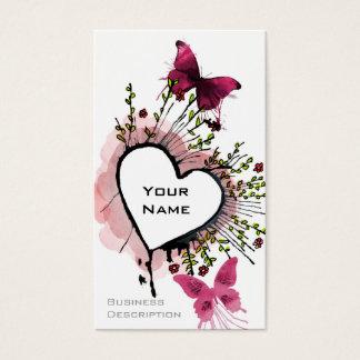 Coração, borboletas e flores cartão de visitas