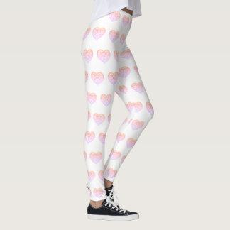 CORAÇÃO bordado rosa Legging do dia dos namorados