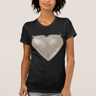 Coração branco do cetim do laço tshirt