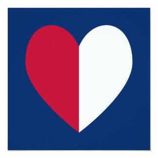 Coração branco e azul vermelho convite quadrado 13.35 x 13.35cm