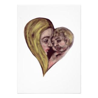 Coração branco louro da mãe e da criança convites
