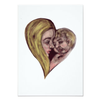 Coração branco louro da mãe e da criança convite 12.7 x 17.78cm