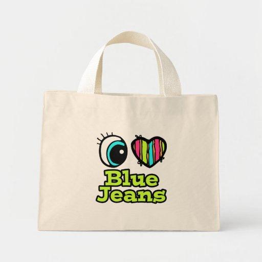 Coração brilhante do olho eu amo a calças de ganga bolsas para compras