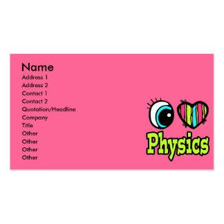 Coração brilhante do olho eu amo a física cartão de visita