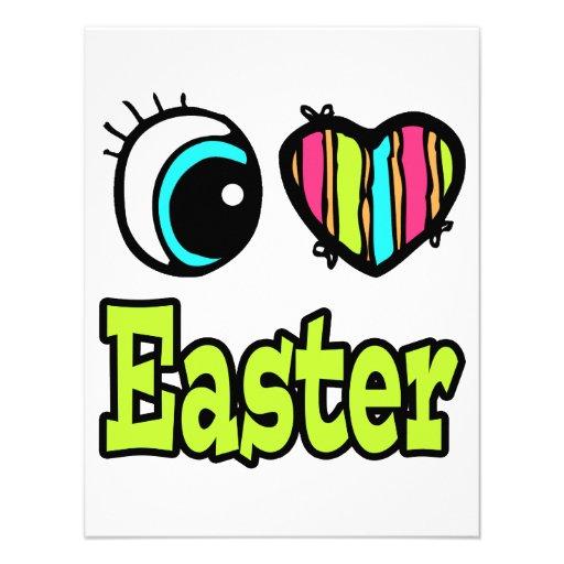 Coração brilhante do olho eu amo a páscoa convites
