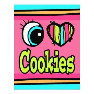 Coração brilhante do olho eu amo biscoitos modelo de panfleto