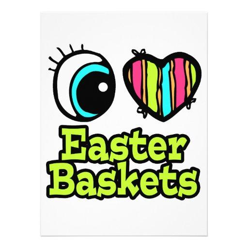 Coração brilhante do olho eu amo cestas da páscoa convites personalizado