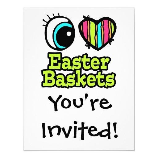 Coração brilhante do olho eu amo cestas da páscoa convites personalizados